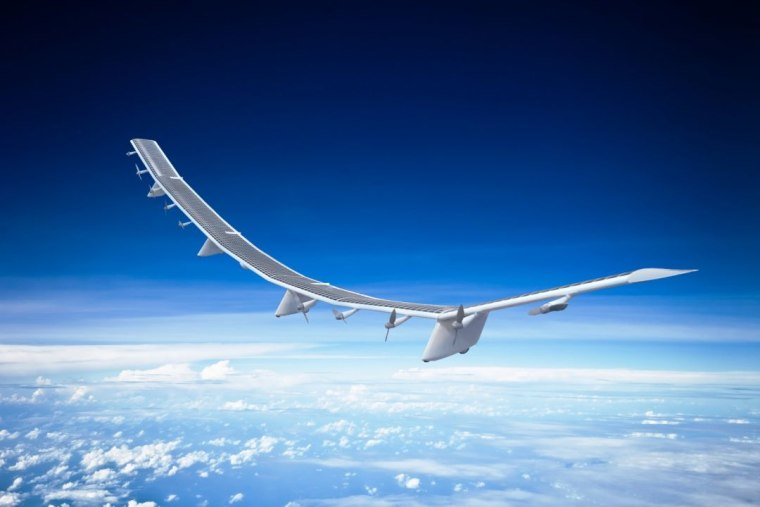 """HAWK30,"" the unmanned aircraft being developed by HAPSMobile as a telecommunications platform, measures approximately 256 feet long. Powered by solar panels on its wings that house 10 propellers, ""HAWK30"" can fly at an average speed of 70 miles per hour. Since ""HAWK30"" flies at high altitudes above the clouds, its solar panels are continually powered by sunlight."