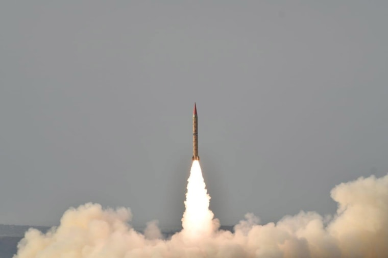Image: Shaheen II, surface-to-surface ballistic missile, according to Pakistan capable of delivering conventional and nuclear weapons at a range of up to 1500 miles, during a training launch in this handout photo released by Inter Services Public Relation