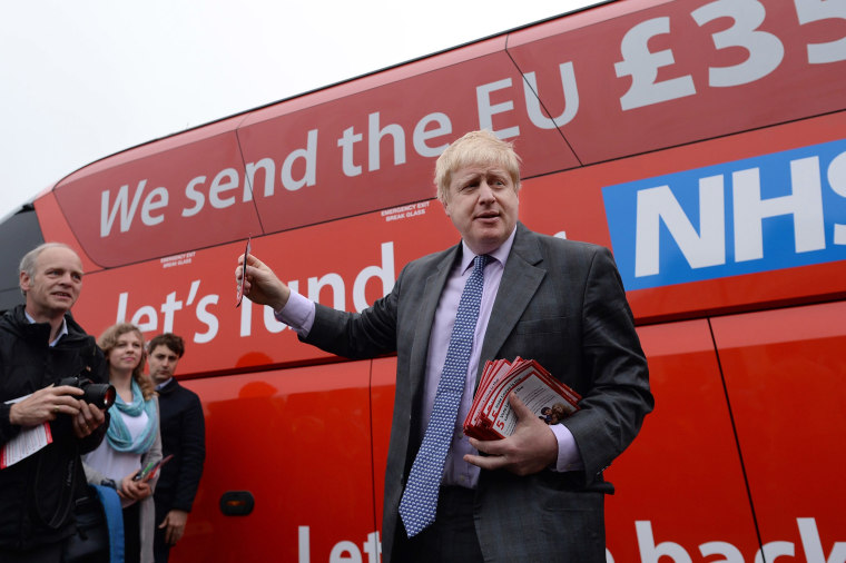 Image: Former Mayor of London Boris Johnson before he boards the Vote Leave campaign bus in Truro, Cornwall, ahead of its inaugural journey which will criss-cross the country over the coming weeks to take the Brexit message to all corners of the UK before