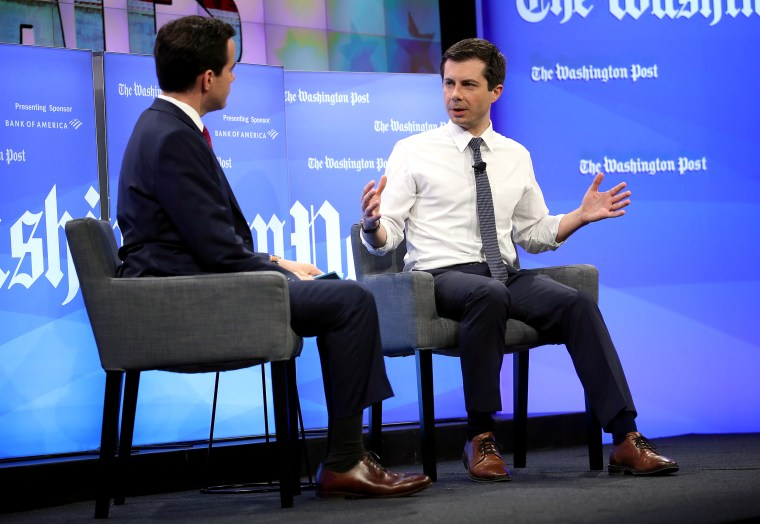 Image: Democratic Presidential Candidate Pete Buttigieg Interviewed At The Washington Post