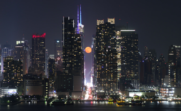 Moonrise Above 42nd Street in New York City