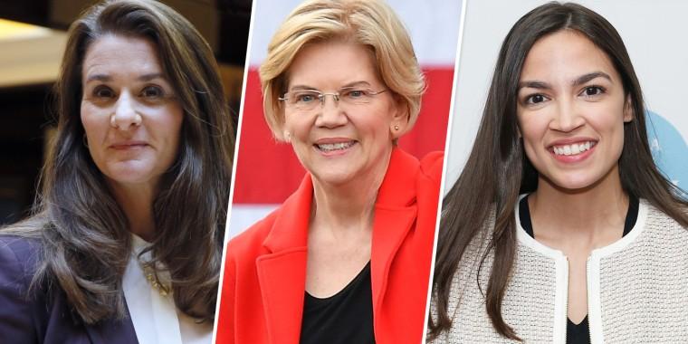 Image: Melinda Gates, Elizabeth. Warren and Alexandria Ocasio-Cortez