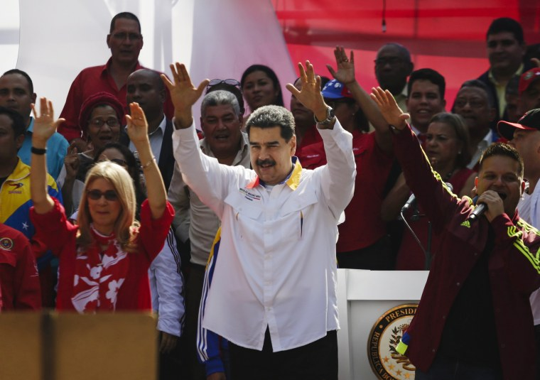 Venezuela's President Nicolas Maduro attends a rally in support of the government in Caracas on May 20, 2019.