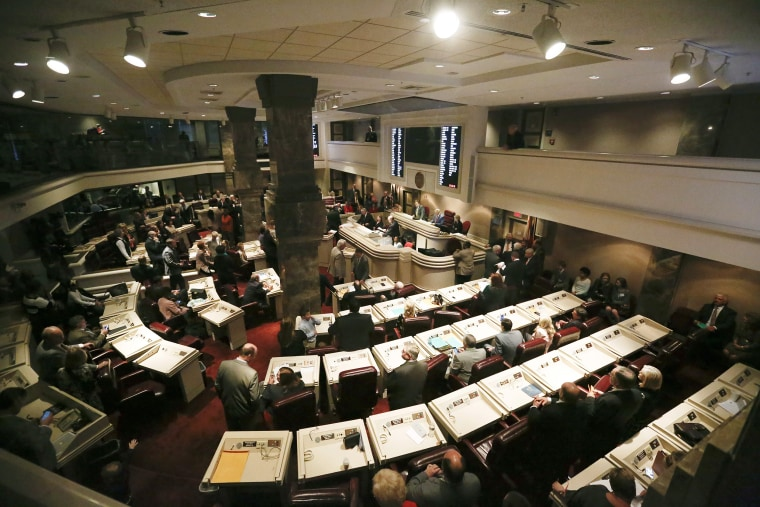 The House Representatives gather on the House floor for the first day of the legislative session on Feb. 7, 2017, in Montgomery, Alabama.