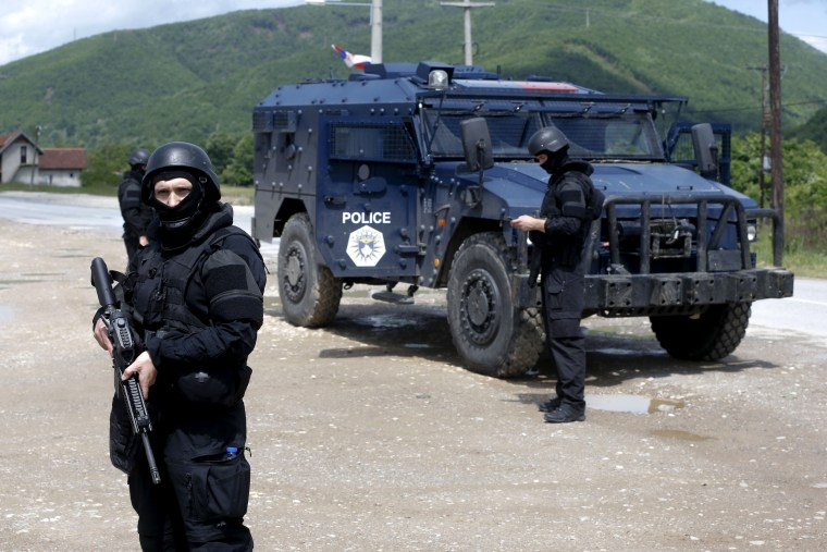 Image: A special unit of the Kosovo police near the village of Cabra during a police operation on May 28, 2019.