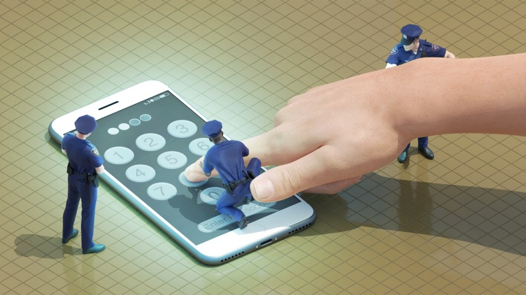 Illustration of three police offers forcing a hand to enter a phone passcode.