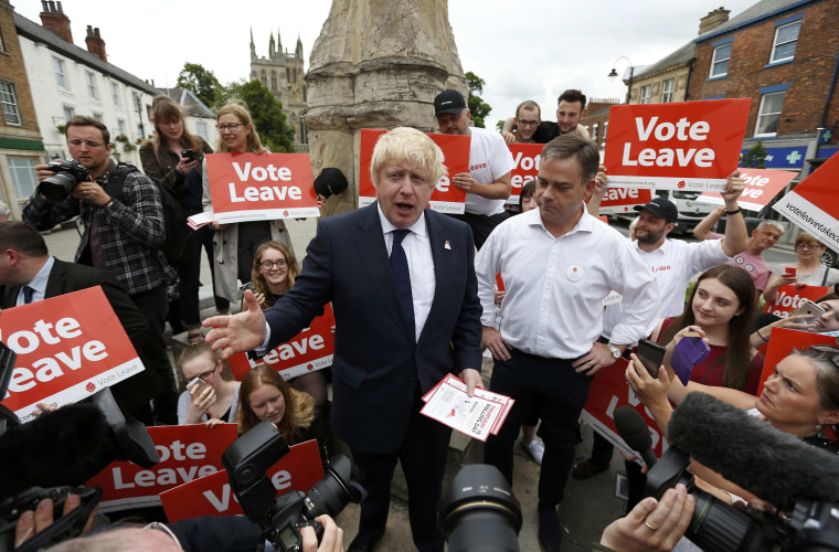 """Image: Former London Mayor Boris Johnson speaks during a \""""Vote Leave\"""" rally in Selby"""