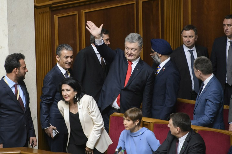 Image: Ex-President Petro Poroshenko during inauguration of President-elect Volodymyr Zelensky in the Ukrainian parliament in Kiev