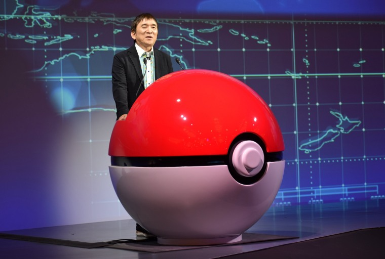 Image: Tsunekazu Ishihara, chief executive of the Pokemon Company, speaks at a news conference in Tokyo