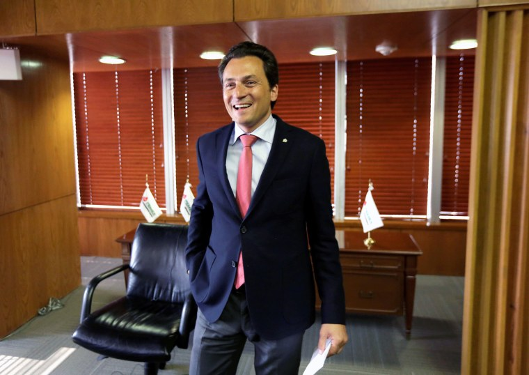 Image: FILE PHOTO: Emilio Lozoya Austin, chief executive of Mexican oil company PEMEX, speaks with Reuters reporter during an interview at Pemex headquarters in Mexico City
