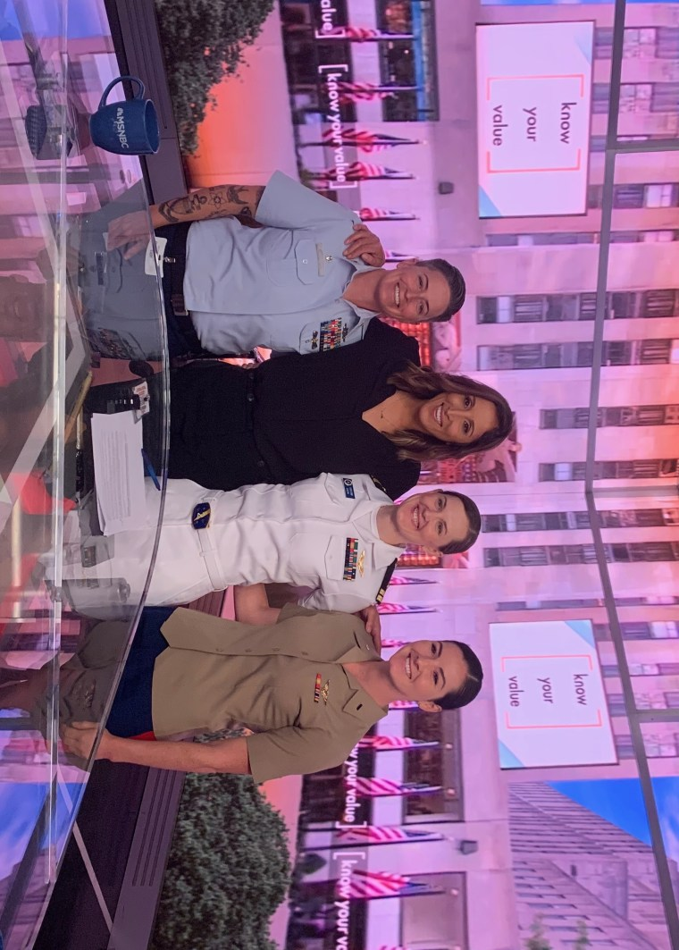 From left to right: Coast Guard Chief Boatswain's Mate Holly Campbell, MSNBC anchor Yasmin Vossoughian, Navy Lt. Laura Combs and Marine Corps' 1st Lt. Stephanie Salmon,