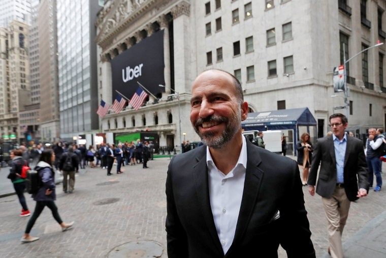 Image: Uber Technologies Inc., CEO Dara Khosrowshahi outside NYSE ahead of company's IPO in New York