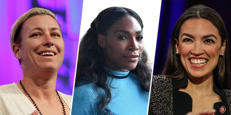 Image: Amy Wambach, Serena Williams, Alexandria Ocasio-Cortez