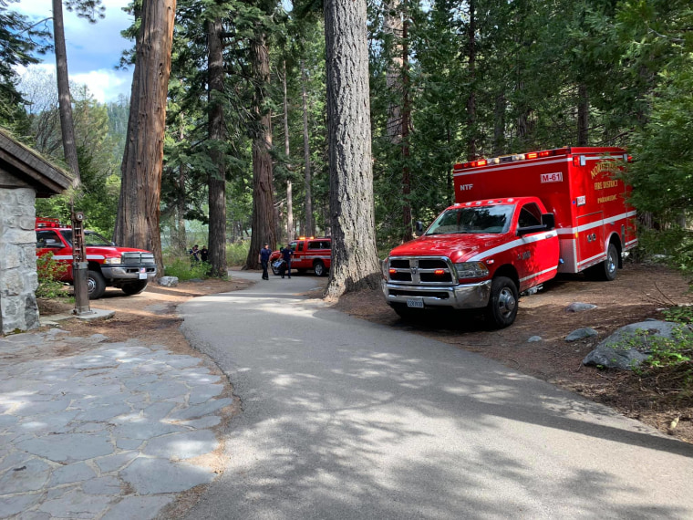 This photo posted online by the North Tahoe Fire Protection District shows emergency vehicles after a woman lost her footing and fell at Eagle Falls near Lake Tahoe in California, on Friday, May 31, 2019.