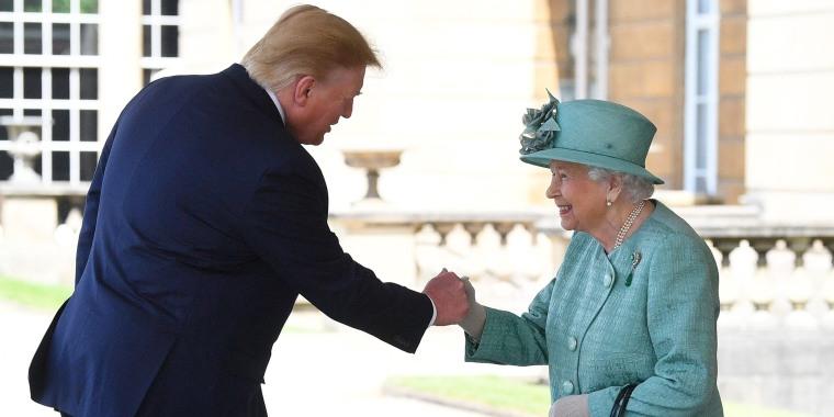 Donald Trump fistbumping the Queen