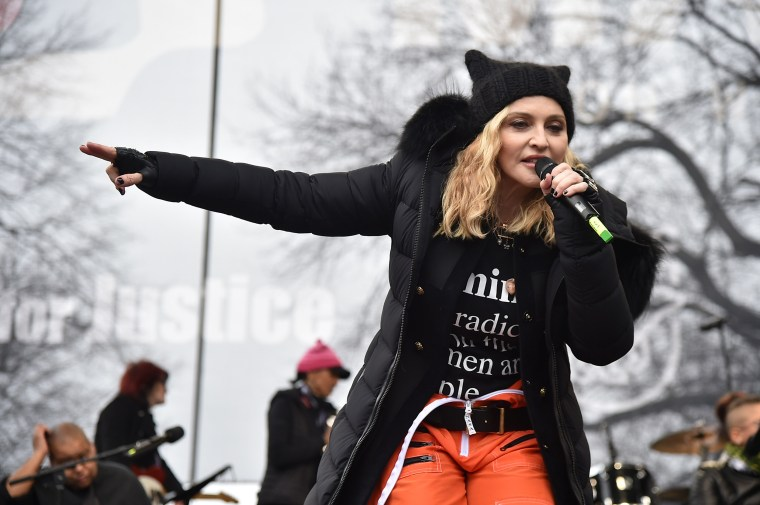 Image: Madonna performs at the Women's March on Washington on Jan. 21, 2017.