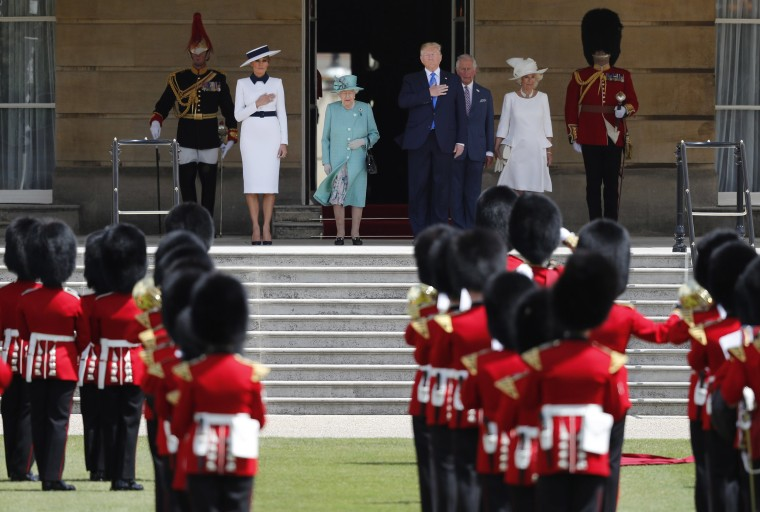 Image: Britain's Queen Elizabeth II, President Donald Trump, first lady Melania Trump, Britain's Prince Charles and Camilla, Duchess of Cornwall, listen to the U.S. national anthem during a ceremonial welcome in the garden of Buckingham Palace i
