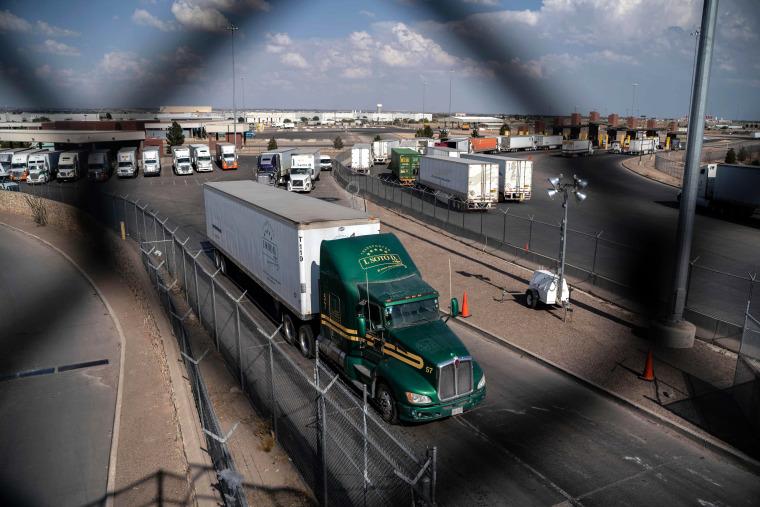 Image: Semi-trucks cross the border into Texas at the Zaragoza International Bridge in Juarez, Mexico, on May 31, 2019.