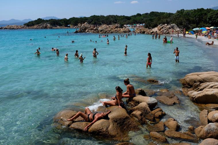 Image: The Spiaggia Capriccioli beach on the island of Sardinia, near Italy, on July 30, 2018.