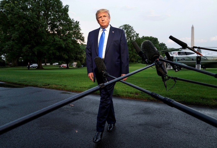 Image: President Donald Trump speaks to the media as he leaves the White House on June 2, 2019.