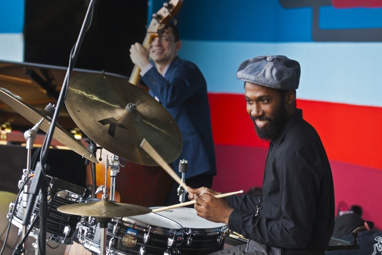 Image: Lawrence Leathers plays drums for CELIA MCLORIN at the Monterey Jazz Festival