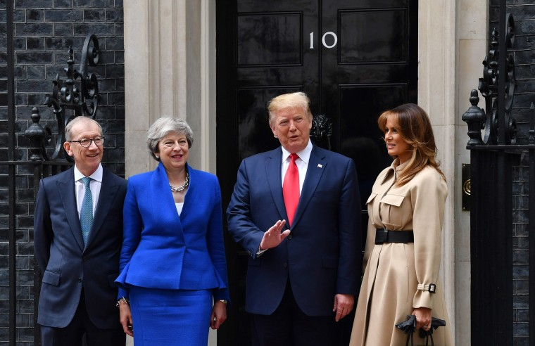 Image: Prime Minister Theresa May and husband Philip May welcome President Donald Trump and first lady Melania Trump to 10 Downing Street,
