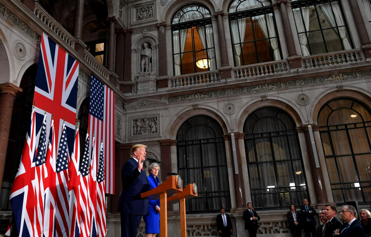 Image: President Donald Trump and British Prime Minister Theresa May have a joint press conference at the Foreign and Commonwealth Office in London on JUne 4, 2019.