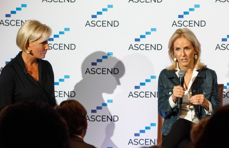 "Know Your Value founder and ""Morning Joe"" co-host Mika Brzezinski, left, talks to venture capitalist Annie Lamont, right, at at the ASCEND summit in NYC on May 10."
