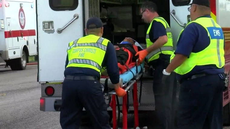 The scene of the accident in Robstown, near Houston, in which six people were killed and five injured.