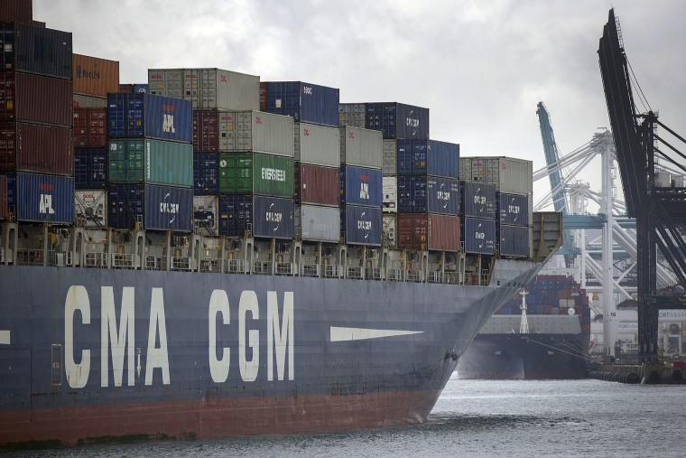 Image: The CMA CGM White Shark cargo ship prepares to dock at PortMiami as the United States and China continue their trade war on May 16, 2019 in Miami Beach, Florida