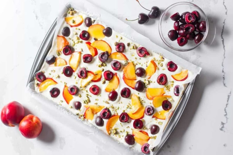 This cherry peach yogurt bark is a protein-packed treat that will help you fuel up for summer fun.