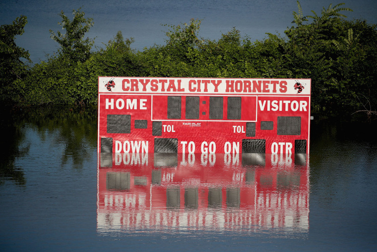 Image: Floodwater from the Mississippi River covers the Crystal City High School football field on May 30, 2019 in Crystal City, Missouri