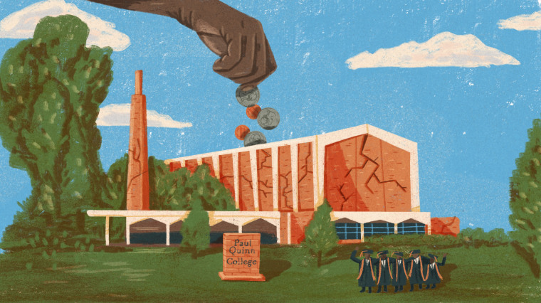 Illustration of hand pouring change into a cracked piggy bank shaped like a Paul Quinn College building. A group of college graduates stand on the lawn.