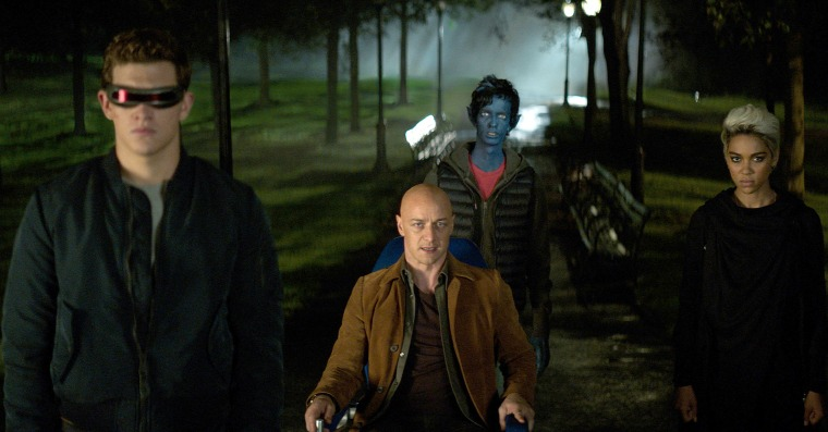 "Tye Sheridan, James McAvoy, Kodi Smit-McPhee, and Alexandra Shipp in Twentieth Century Fox's ""Dark Phoenix."""
