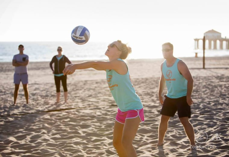 Beach volleyball leagues, like this one from Zog Sports in Los Angeles, are a popular way to combine exercise and socializing.