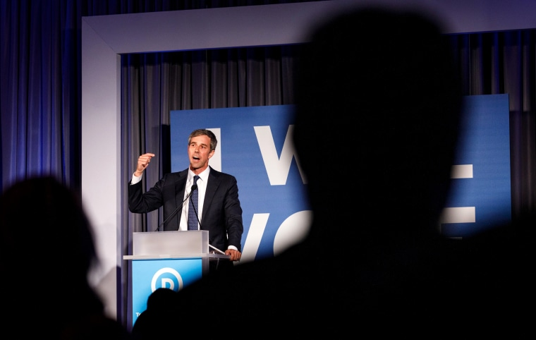 Image: Presidential candidate Beto O'Rourke speaks to a crowd at a Democratic National Committee event in Atlanta, Georgia, on June 6, 2019.