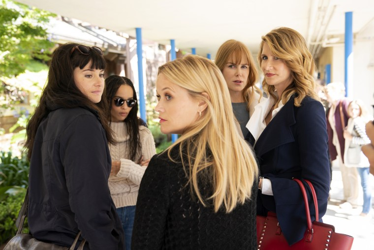 "Image: Shailene Woodley, Zoe Kravitz, Reese Witherspoon, Nicole Kidman, and Laura Dern in season 2 of HBO's ""Big Little Lies."""