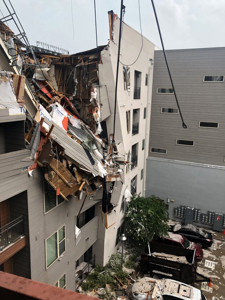 Image: Strong winds caused a crane to collapse in Dallas on June 9, 2019.