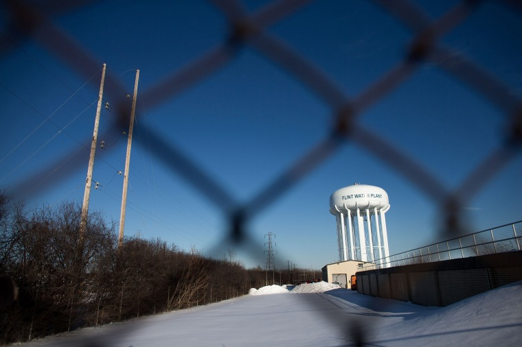 Image: The water tower at the Flint Water Plant