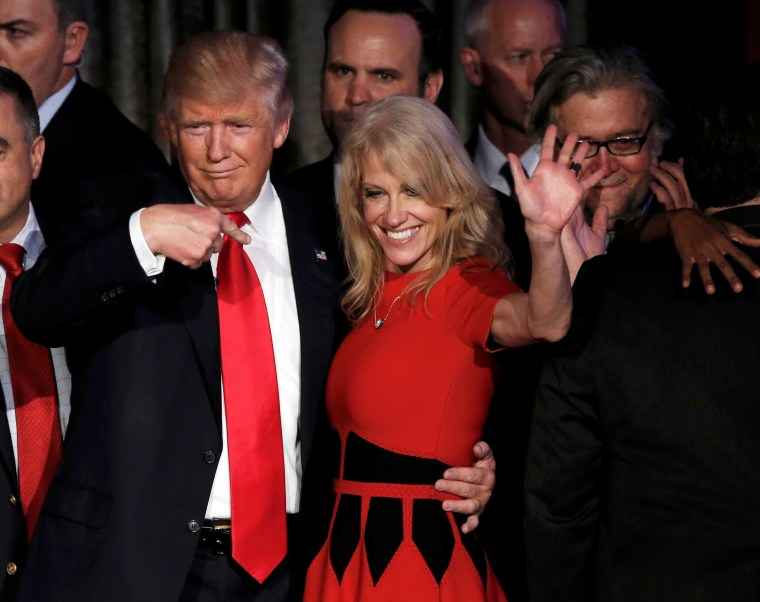 Image: U.S. President-elect Donald Trump and his campaign manager Kellyanne Conway greet supporters during his election night rally in Manhattan