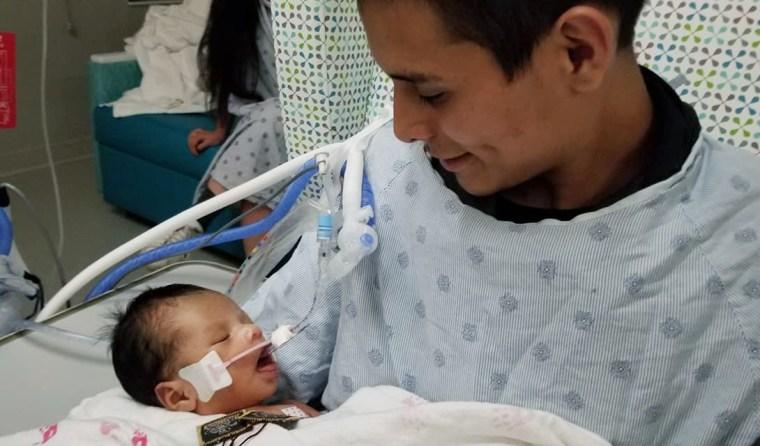 Marlen Ochoa-Lopez's husband in the hospital with Yadiel.