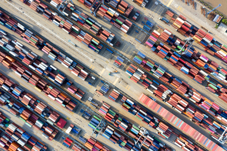 Image: Containers at a port in Ningbo, Zhejiang province, in China on May 28, 2019.