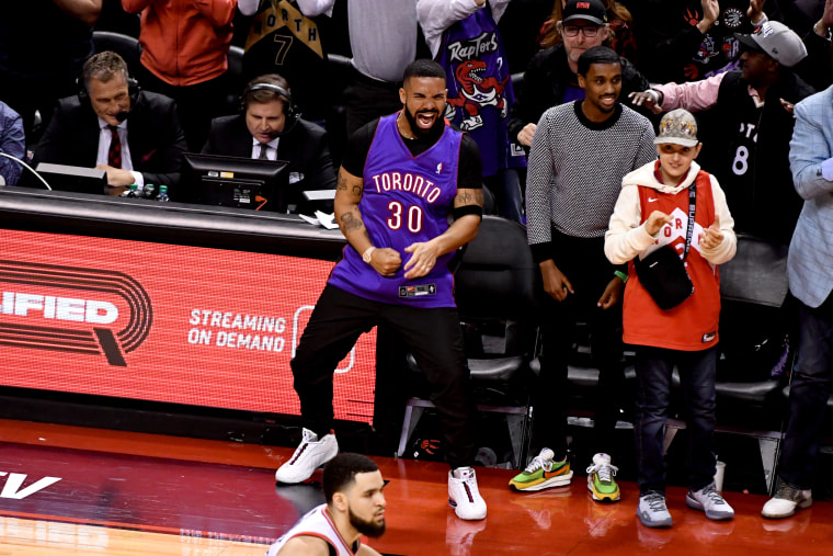 Image: Drake celebrates during game one of the NBA Finals between the Golden State Warriors and Toronto Raptors in Ontario, Canada, on May 30, 2019.