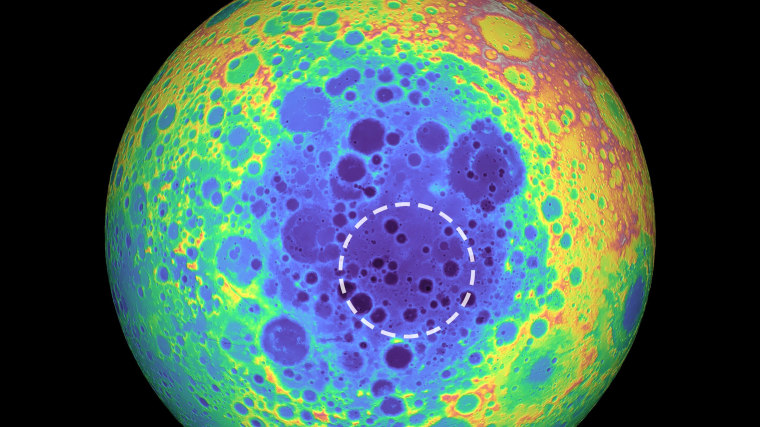 Image: This false-color graphic shows the topography of the far side of the Moon. The warmer colors indicate high topography and the bluer colors indicate low topography. The South Pole-Aitken (SPA) basin is shown by the shades of blue. The dashed circle