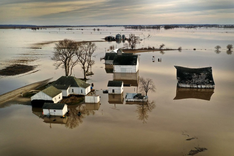 Image: Floodwaters surround a farm in Craig, Missouri, on March 22, 2019.