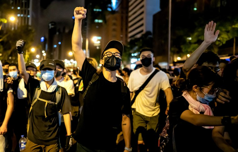 Image: Protesters clash with police after a rally against an extradition law in Hong Kong on June 10, 2019.
