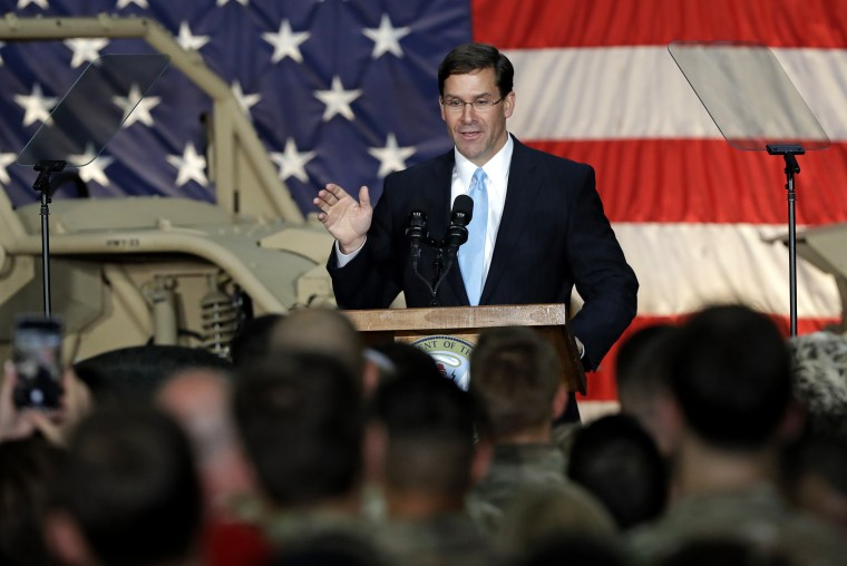 Image: Secretary of the Army Mark Esper speaks to soldiers at Fort Bragg in North Carolina on April 15, 2019.