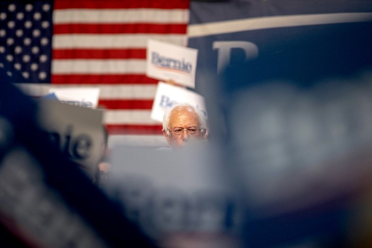 Image: Sen. Bernie Sanders at a campaign rally in Pasadena, California, on May 31, 2019.