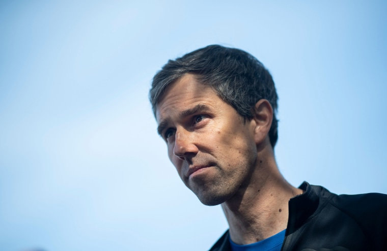 Image: Democratic presidential candidate and former Texas congressman Beto O'Rourke speaks to the press after running with members of the LGBTQ community a two miles Pride run in New York City