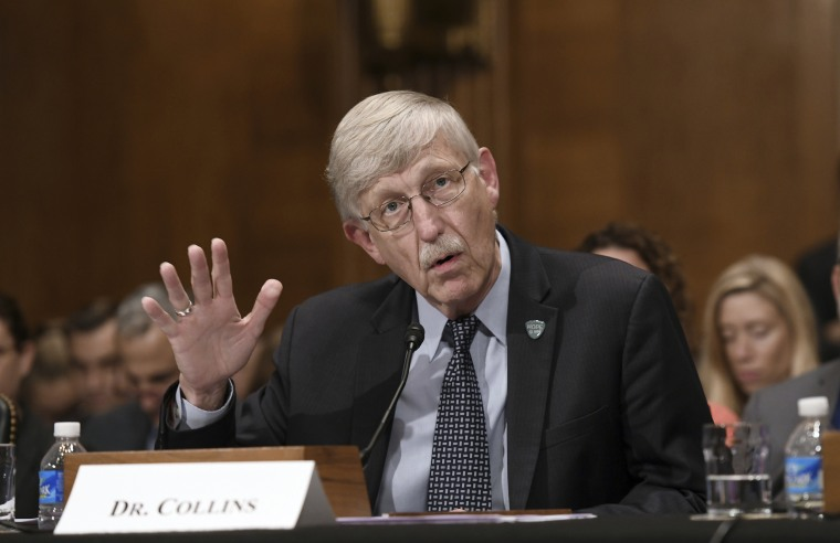 Dr. Francis Collins, the director of the National Institutes of Health, testifies at a hearing on Capitol Hill to examine the federal response to the opioid crisis Oct. 5, 2017, in Washington, D.C.